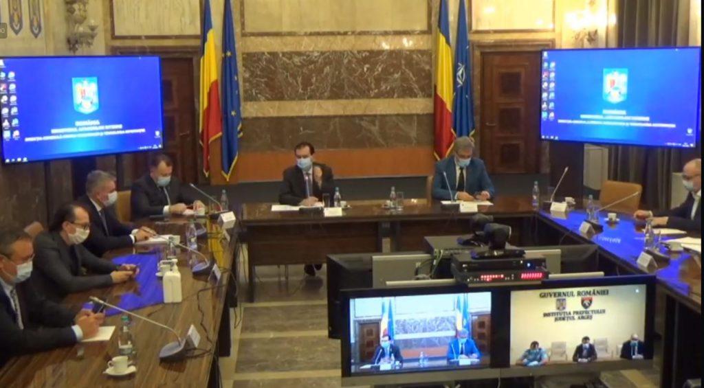 Ședința Comitetului Național pentru Situații de Urgență, condusă de Prim-ministrul Ludovic Orban