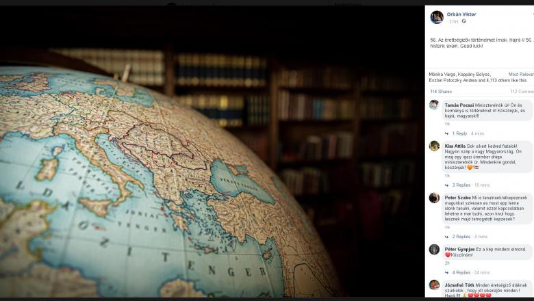 Viktor Orban a postat pe Facebook o imagine cu un glob cu harta Ungariei mari, în care apare inclusiv Transilvania
